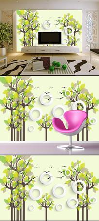 抽象树3D立体圆圈电视背景墙