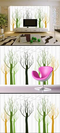 抽象树简约电视背景墙