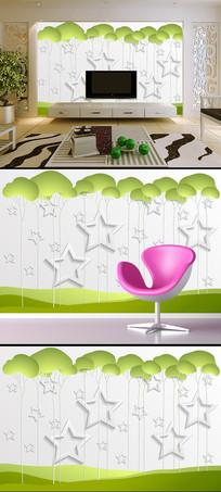 创意树3D立体五角星电视背景墙
