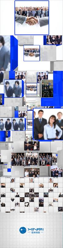 方块图片汇聚翻转LOGO标志片头展示