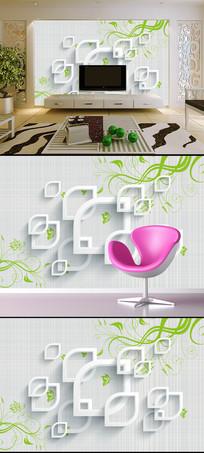 简约时尚花卉花藤3D方框电视背景
