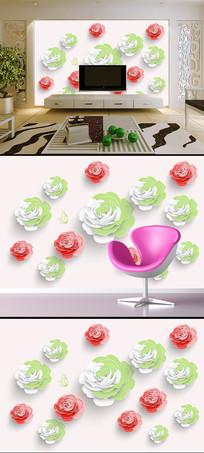 立体玫瑰花朵电视背景墙