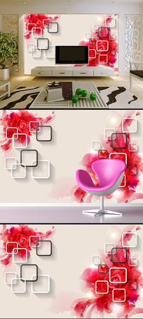 梦幻玫瑰红色3D立体电视背景墙