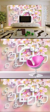梦幻唯美桃花樱花花卉背景墙装饰画