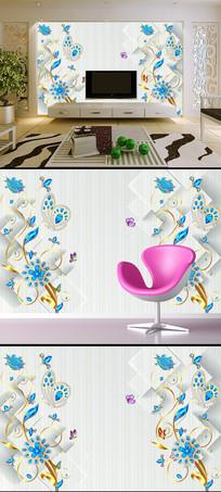 欧式唯美珠宝花卉3D立体电视背景墙
