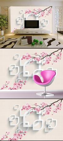 时尚梅花樱花3D方框电视背景墙