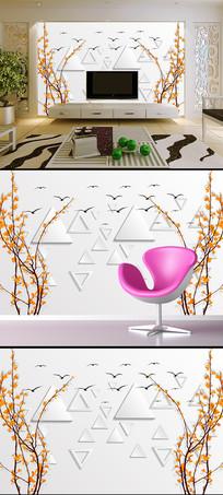 时尚秋树3D电视背景墙