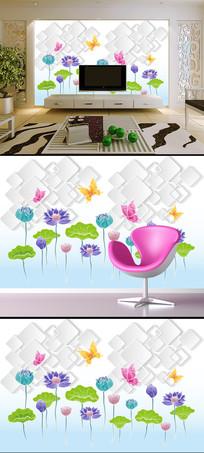 手绘彩色荷花3D方块蝴蝶背景墙