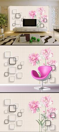 手绘粉色花朵3D方框电视背景墙