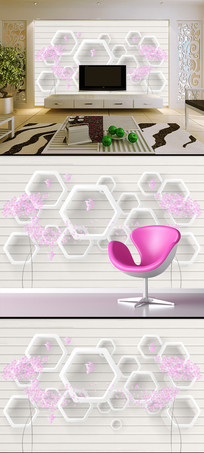 手绘花卉3D立体电视背景墙