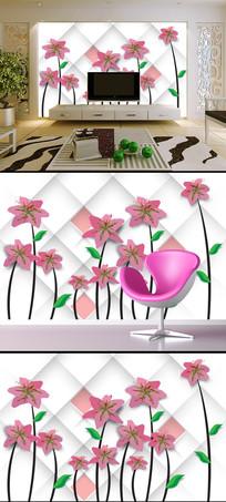 唯美淡雅3D立体花卉花朵电视背景墙