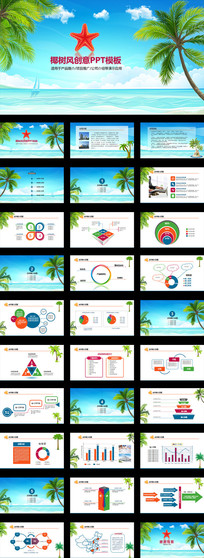 椰树风创意PPT模板产品推广公司介绍PPT模板