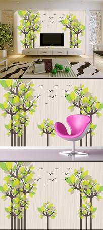 创意抽象树简约飞鸟电视背景墙