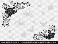 黑玫瑰玻璃图欧式风格墙纸