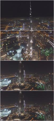 2K超清哈里法塔夜景航拍大气视频