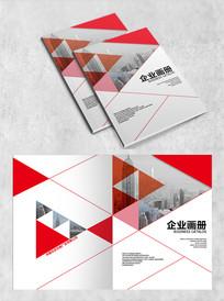 红色拼接企业画册封面