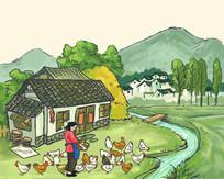 农妇养鸡喂鸡插画