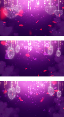 情人节婚礼爱情玫瑰花瓣紫色心形背景