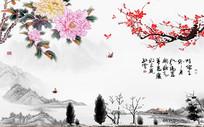 江南梅花盛开典雅中式电视背景墙