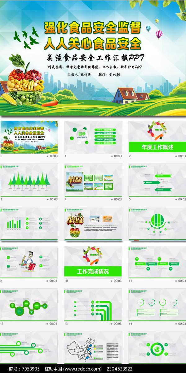 健康养生水果蔬菜食品安全PPT模板图片