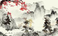 梅花开处复古水墨中国风背景墙