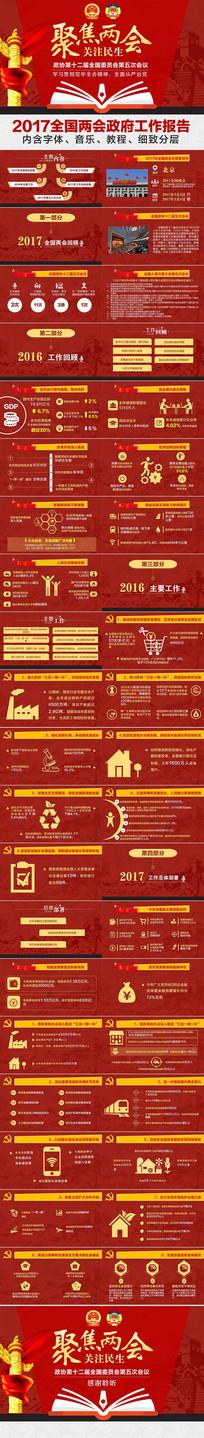 2017全国两会政府工作报告学习解读ppt