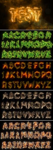 ae火焰燃烧英文字母包模板