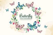 水彩背景与花卉花圈蝴蝶矢量素材