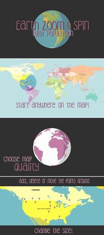 地球旋转人口分布ae模板