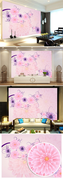粉红玫瑰花简约电视背景墙图片