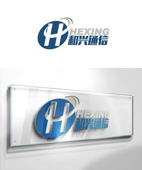 蓝色字母通信logo
