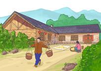 农家院子插画