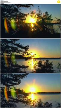 河流夕阳光晕实拍视频素材