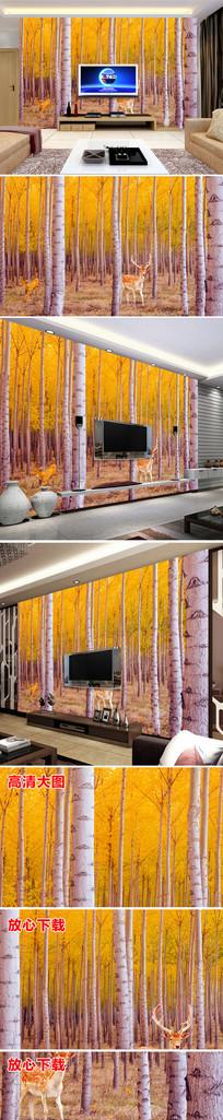 2森林树林大气复古电视背景墙