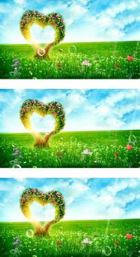 花丛中爱心树蝴蝶飞舞婚礼视频