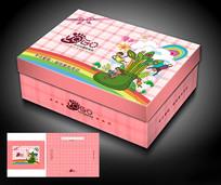 卡通儿童方鞋盒包装模板