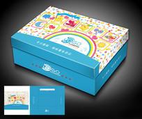 卡通类蓝色儿童方鞋盒包装模板