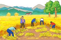 农民秋收收割插画