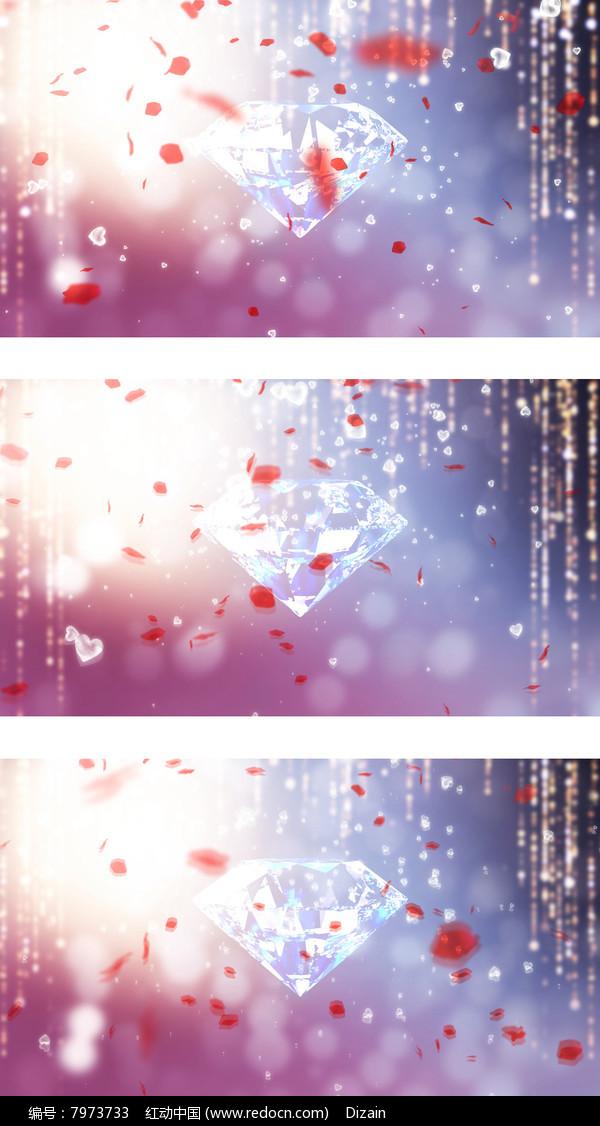 情人节婚礼现场玫瑰花瓣钻石珠帘背景图片