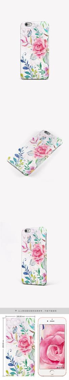 水彩玫瑰蝴蝶手机壳手机套图案