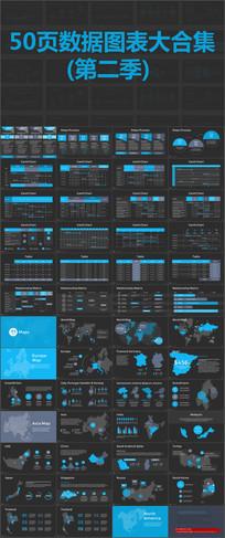 50页扁平化数据图表大合集动态PPT素材 pptx
