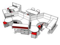 多样办公桌椅组合空间SU模型