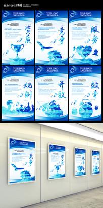 蓝色高端创意企业文化展板设计