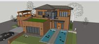 两个游泳池别墅