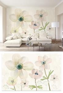 唯美手绘花朵水彩风格电视背景墙