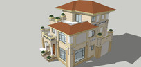 西方别墅建筑模型单体