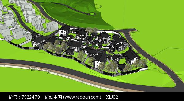 新农村中式住宅群落SketchUp模型图片