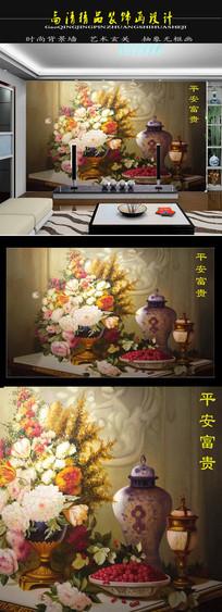 高清欧式油画富贵图电视背景墙装饰画