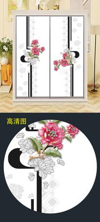 精美清新立体花衣柜移门图案