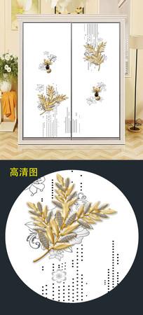 金色立体衣柜移门图案